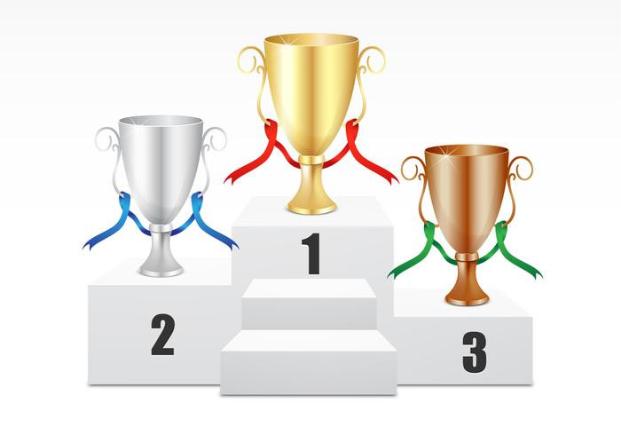 Gold, Silver, Bronze Trophy PSD Set