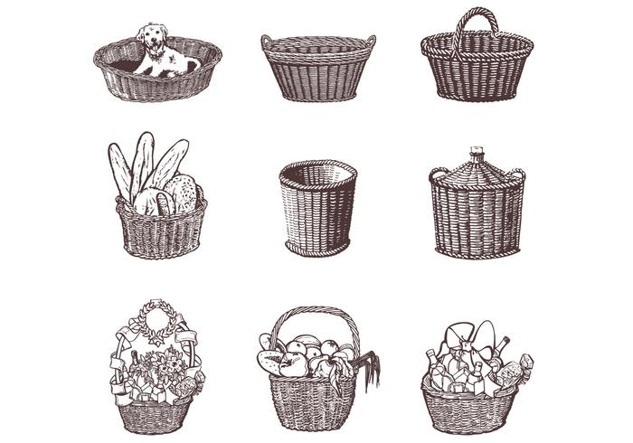 Drawn Wicker Baskets Brushes