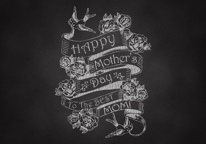 Chalk Drawn Mother's Day Ribbon Banner PSD