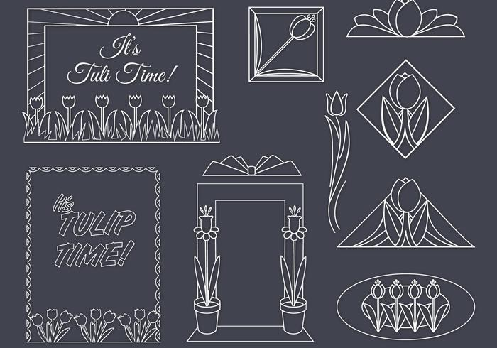 Art deco tulpaner psd set