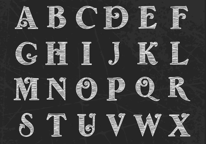 Chalk Drawn Alphabet PSD Pack