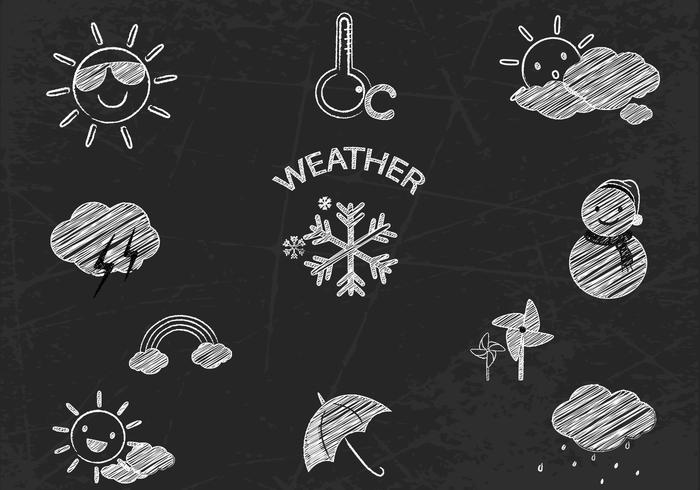 Chalk Drawn Weather Icons Conjunto PSD