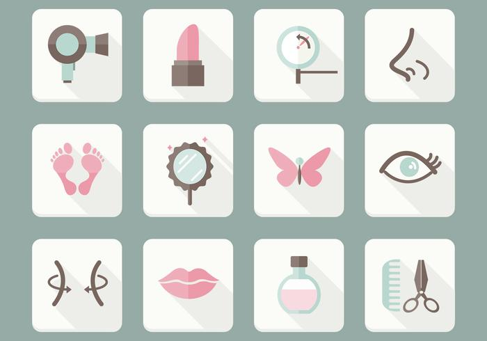 Flat Beauty Care Icons Ensemble PSD