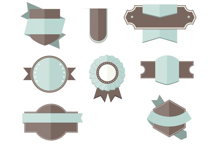 Flat Labels Ribbons PSD Set