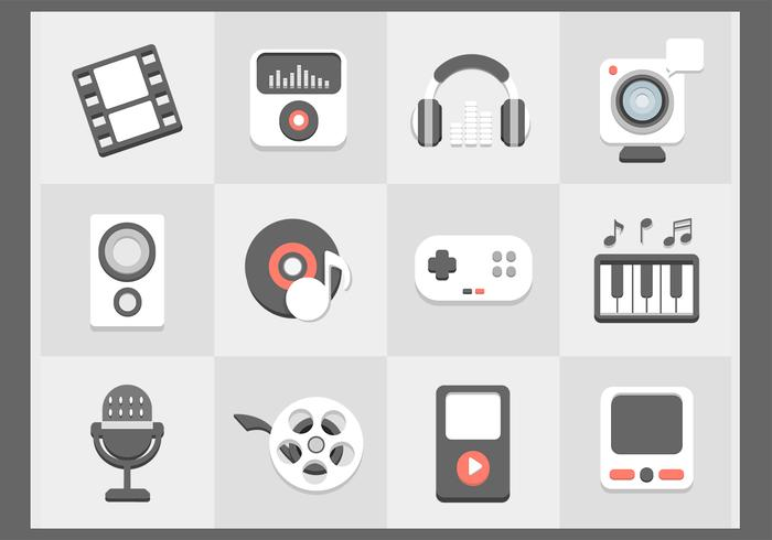 Platte multimedia iconen psd set