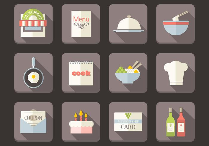 Flat Restaurant Icons PSD Set