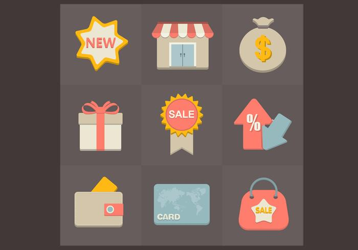 Flat Shopping Icons PSD Set
