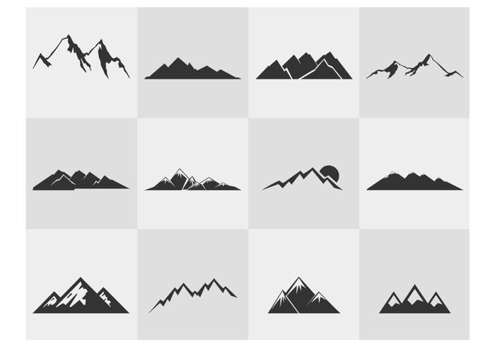 Bergs silhuetter psd set