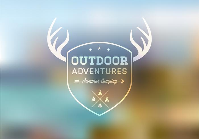 Outdoor Badge on Blurred Landscape PSD