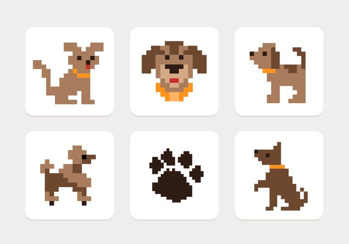 Pixel Dog Icons PSD Set