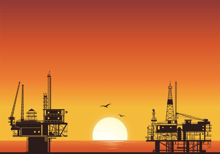 Sunset Oil Rig Background PSD