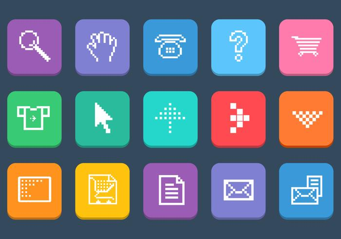 Various Pixel Web Icons PSD Set