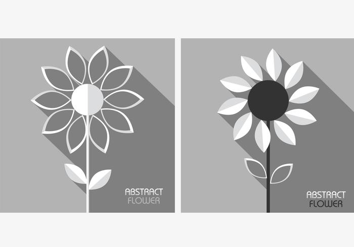 White Grey Abstract Flowers PSD Pack