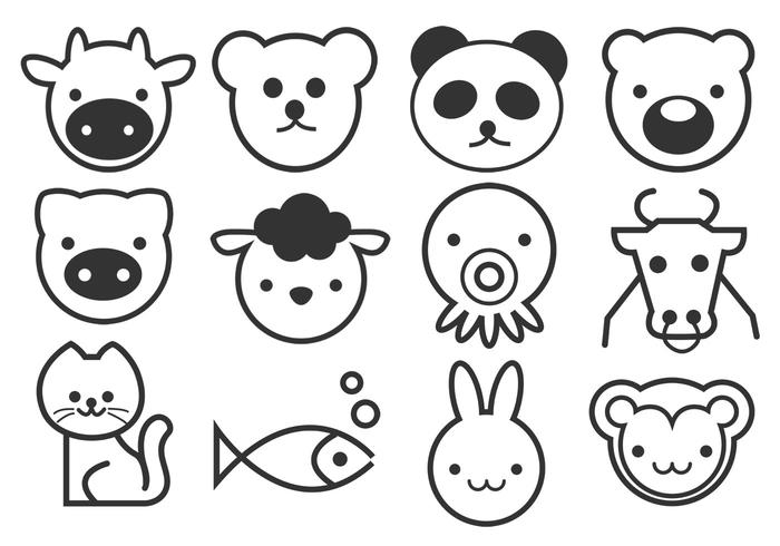 Outline Cute Animals Brushes