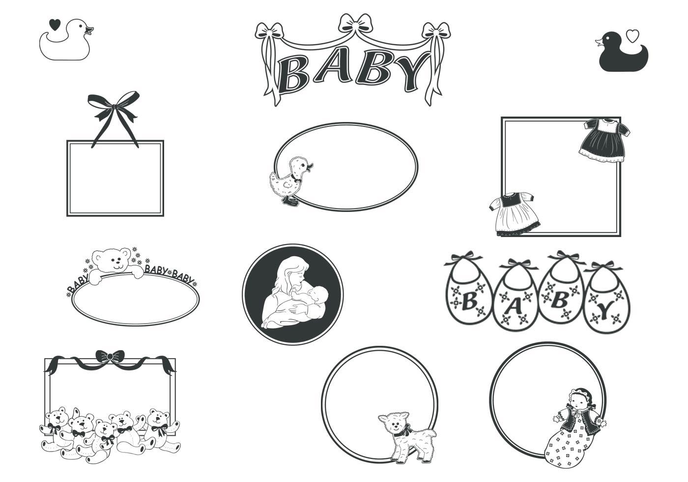 Retro Baby Rahmen Pinsel - Kostenlose Photoshop-Pinsel bei Brusheezy!
