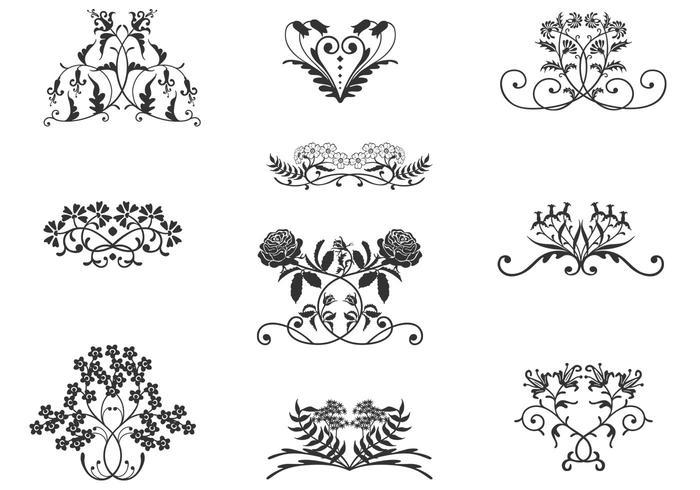Brosses vintage pour ornements floraux