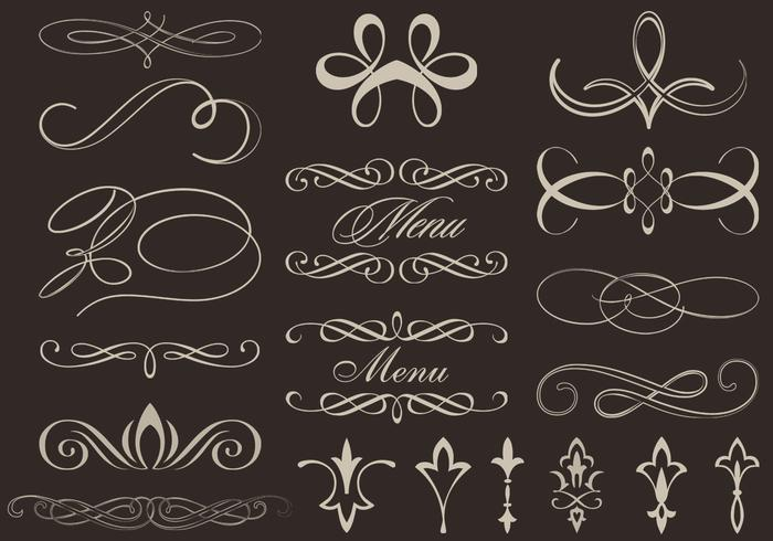 Calligraphic Ornament Brushes and PSD Pack