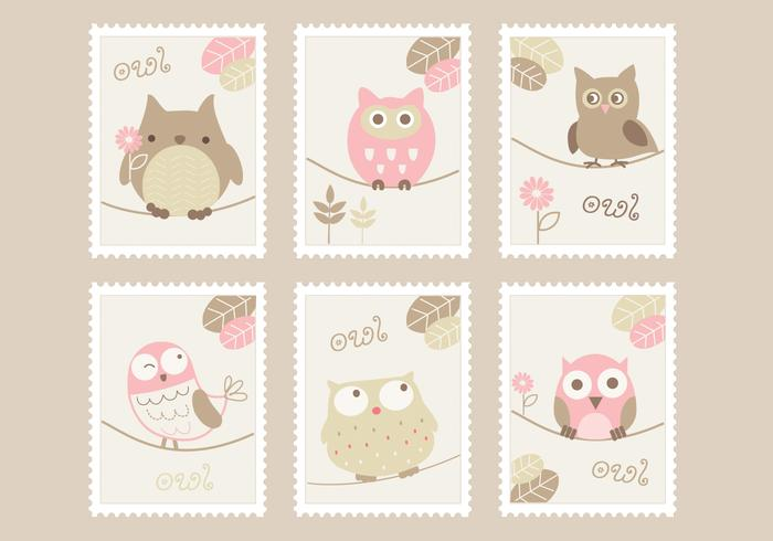 Cartoon Owls Stamps Ensemble PSD