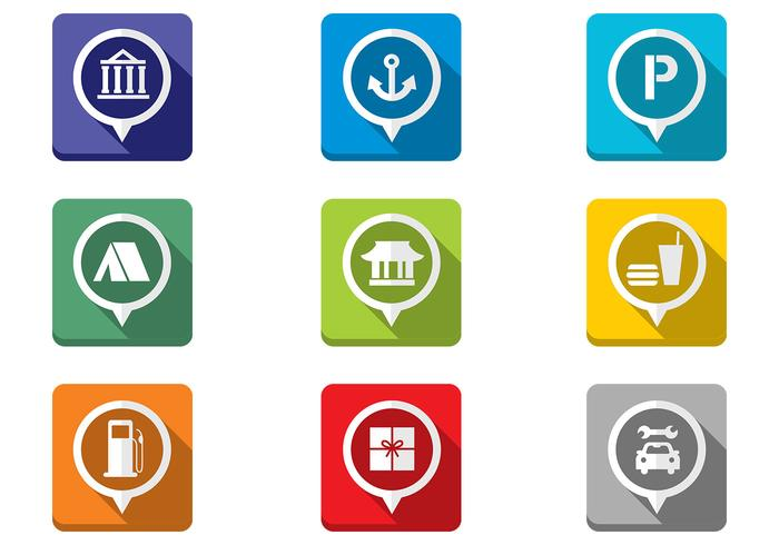 Folded Flat Map Pointer Icons PSD Set