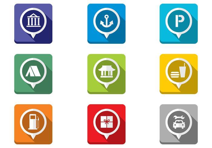 Foldad platt karta Pekar Ikoner PSD Set