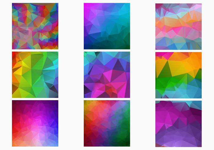 Rainbow Polygonal Backgrounds PSD Set