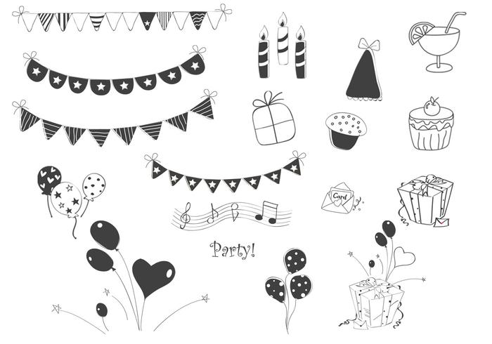 De Borstels Van De Doodle Party Elements