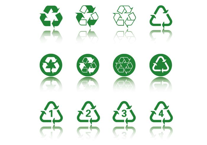 Green Recycle Icon PSD Pack