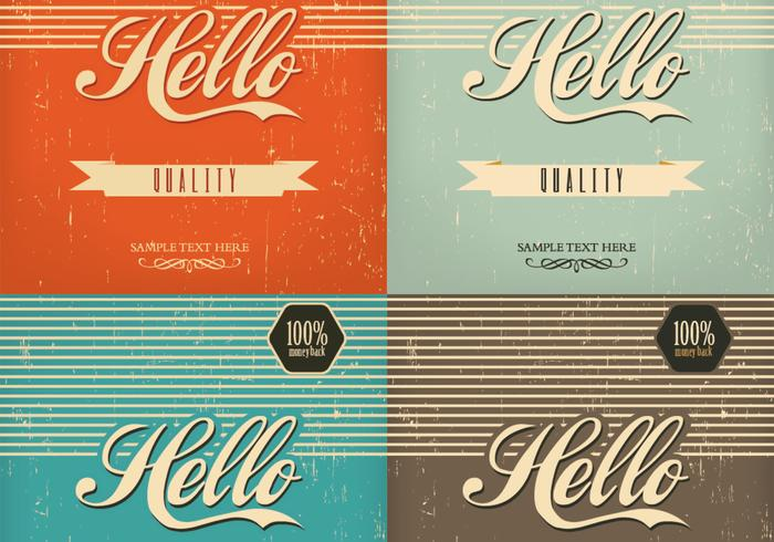 Paquet PSD de Vintage Hello Background