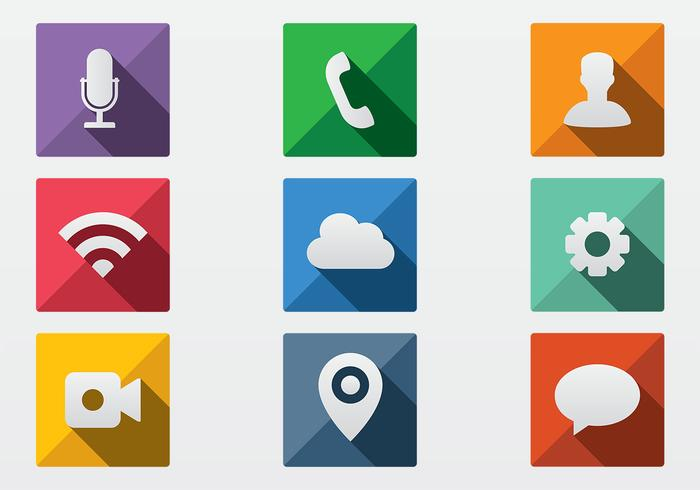 Long Shadow Icon PSD Pack