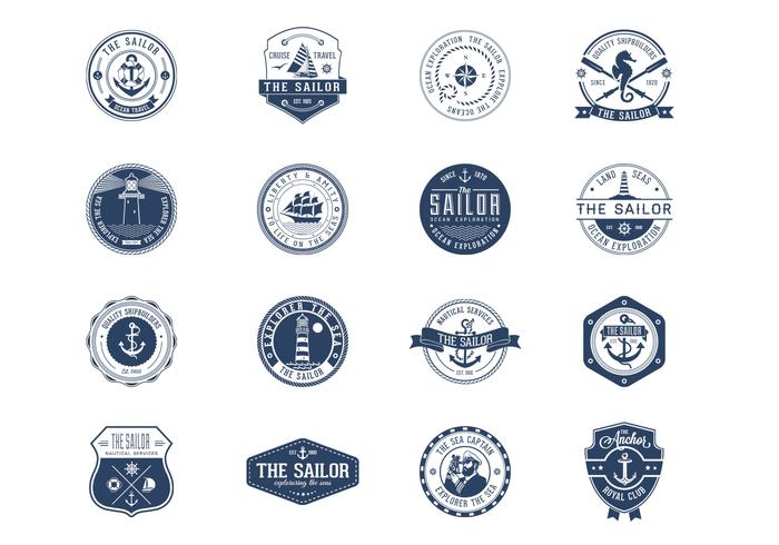 Vintage Nautical Badges PSD Set