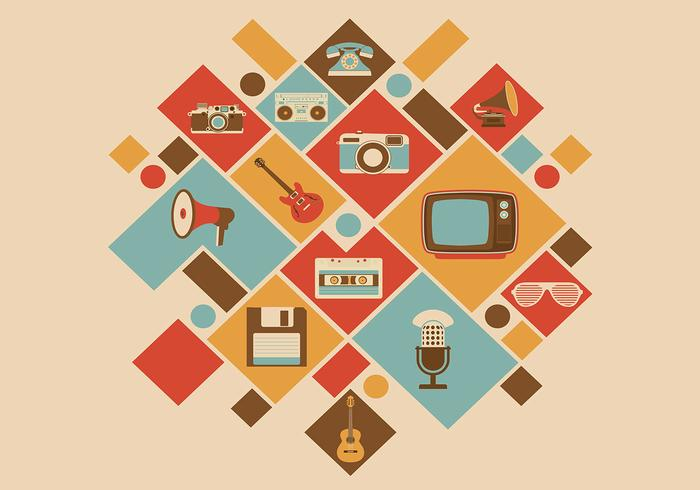 Retro Media Icon PSD Background