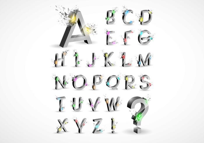 3d explosion alfabet psd set
