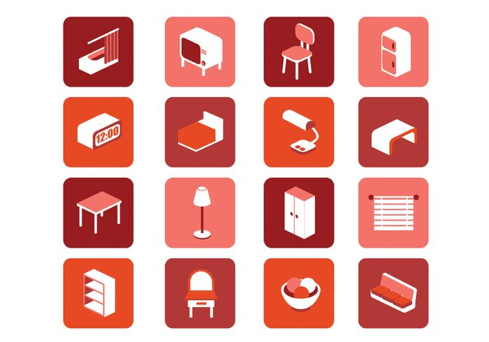 3D Möbel Icons PSD Set