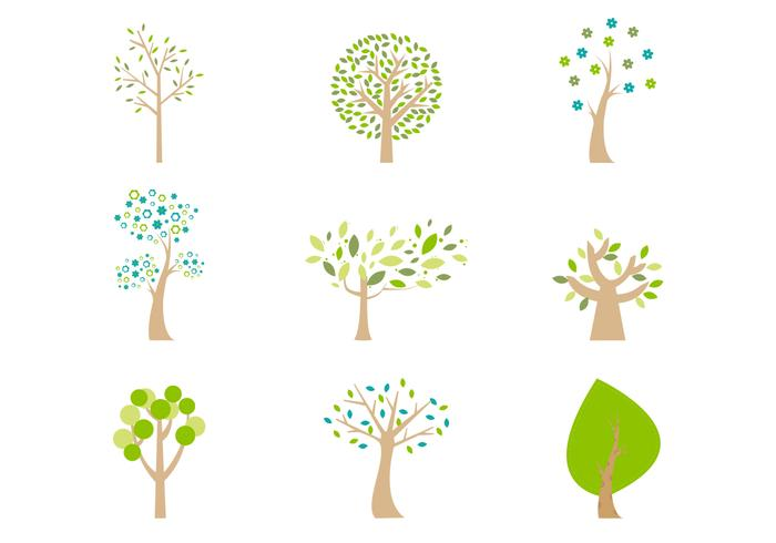Abstrait Cartoon Trees PSD Pack