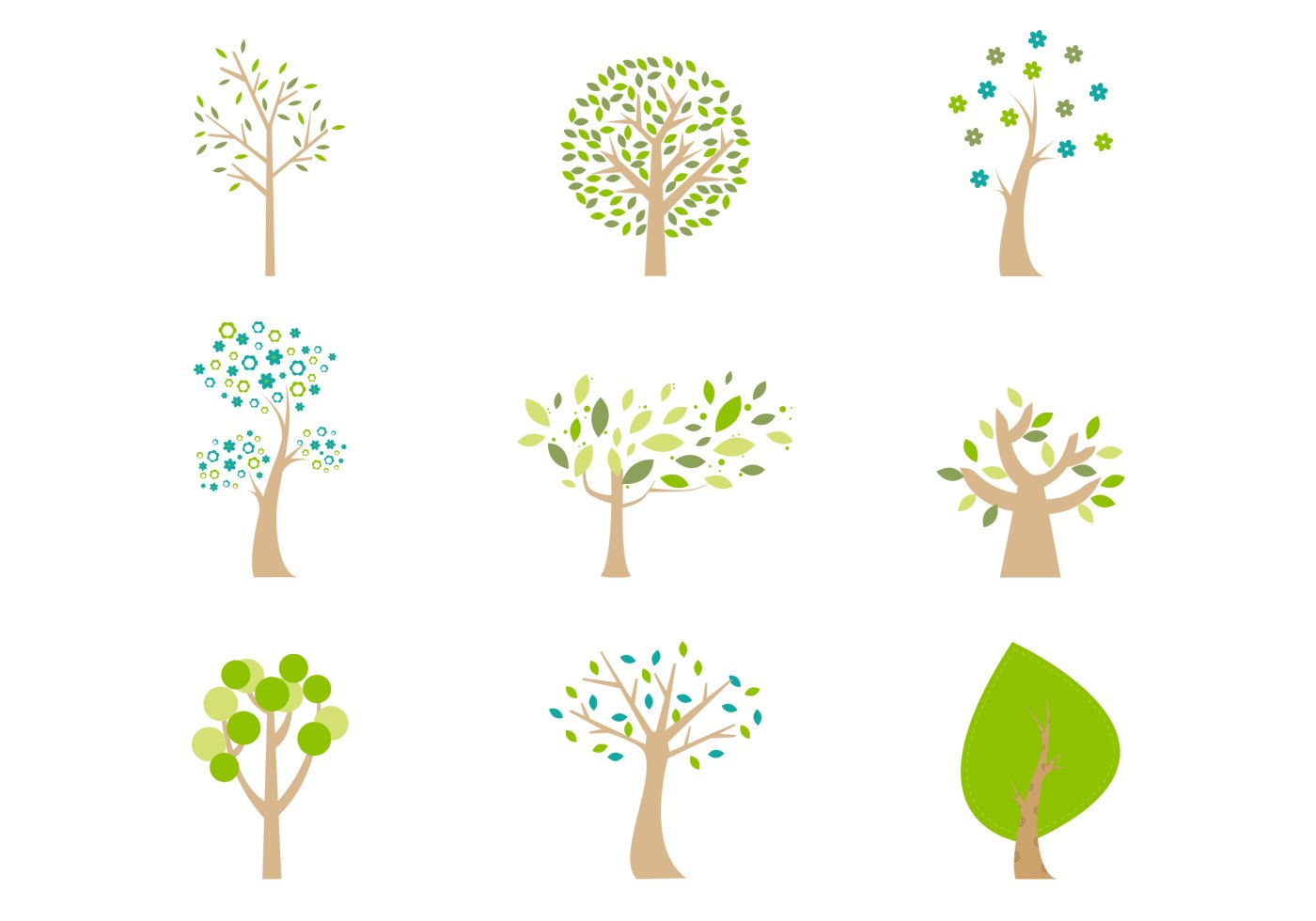 Abstract Cartoon Trees PSD Pack
