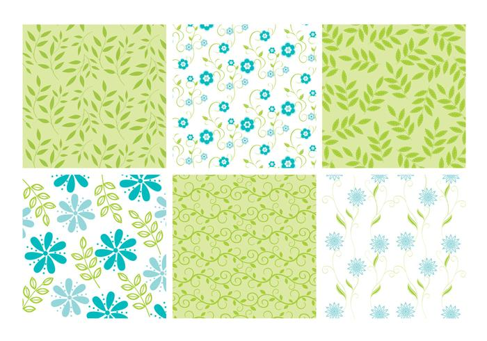 Blue Green Floral Leaves Backgrounds Ensemble PSD
