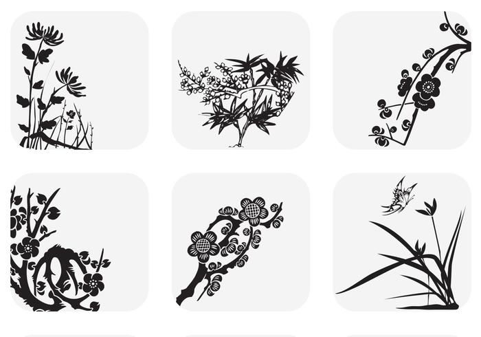 Japanese Reeds and Floral Branches PSD Set