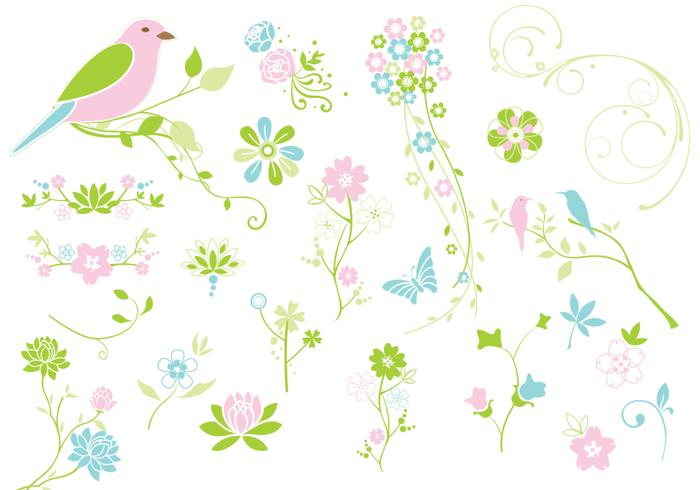 La primavera florece flores PSD Pack