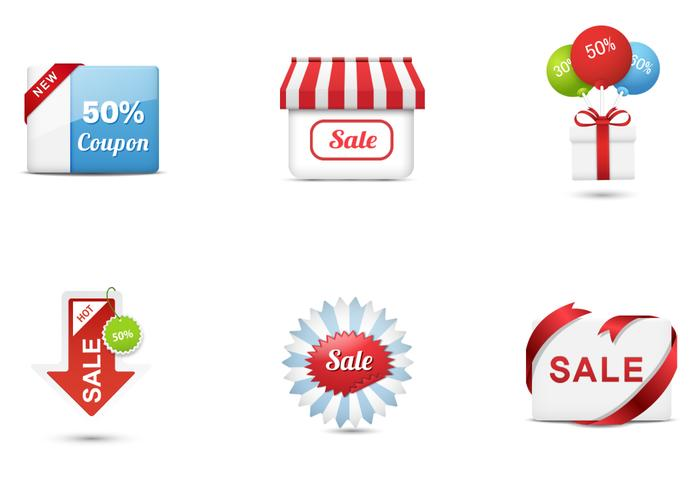 Stylish Sales Icons PSD Kollektion