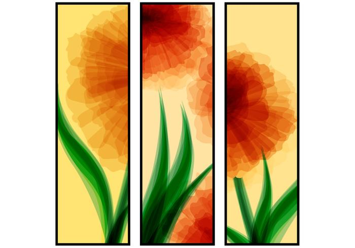 Abstract Red Flower Banners PSD Set