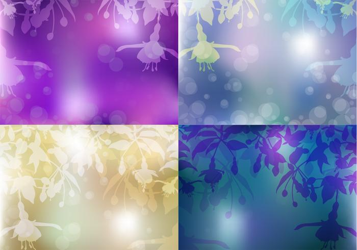 Blödande hjärta Floral Background PSD Set