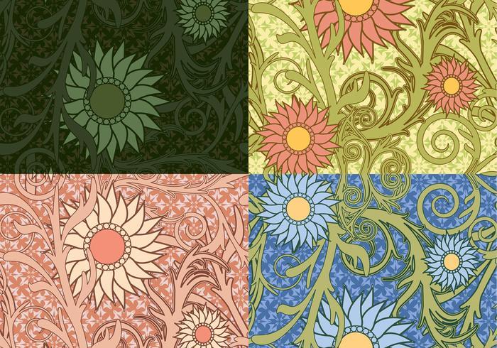 Motifs de tournesol colorés