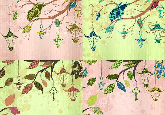 Patchwork Bird and Key Backgrounds PSD