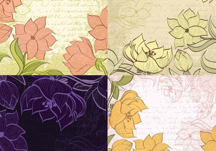 Sketched Floral Backgrounds PSD