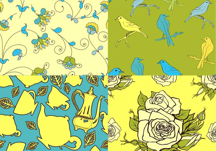 Teatime Bird and Floral Patterns