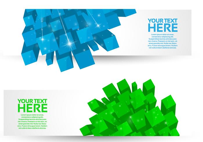 Bright 3D Cube Banners PSD Set