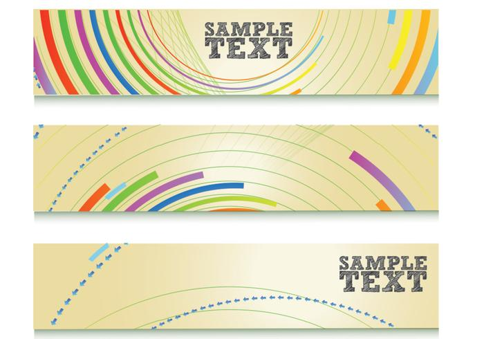 Colorful Abstract Lines Banner Conjunto PSD