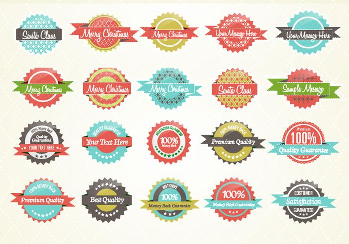 Retro Patterned Label Set PSD
