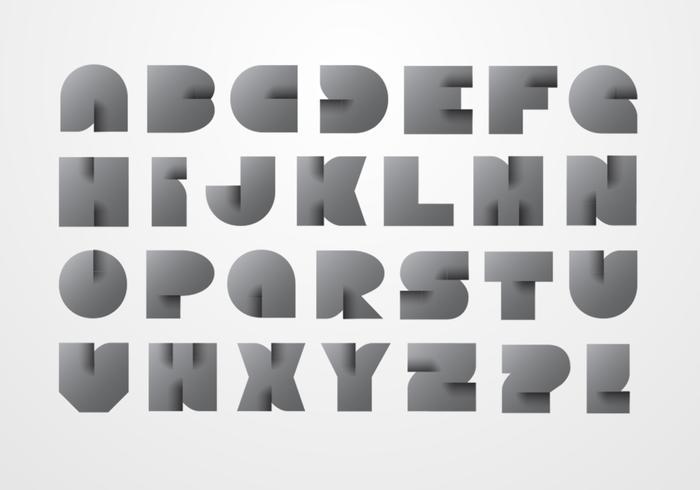 Modern origami alfabet psd