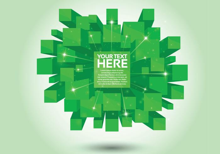 Green 3D Cube PSD Background
